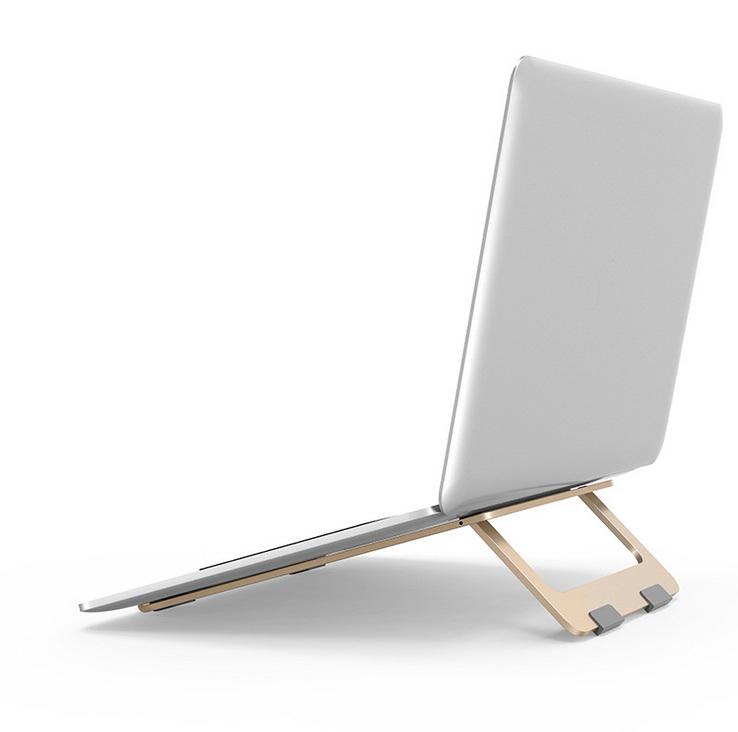 Adjustable Laptop Stand Foldable Lightweight Ventilated Laptop Riser Holder for Desk with Anti-Slip Design Portable Bracket Gold