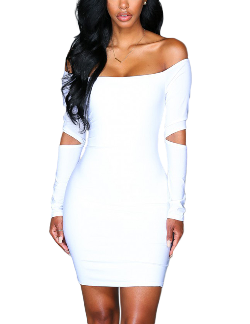 Women Strapless Hollow-carved Wide Boat Neck Long Sleeve Short Skirt Bodycon Pencil Dress Pure Color