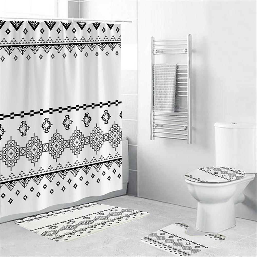 Waterproof Shower  Curtain 180*180cm Non-slip Rug Toilet  Lid  Cover Bath  Mat For Bathroom yul-1643 bohemian geometry