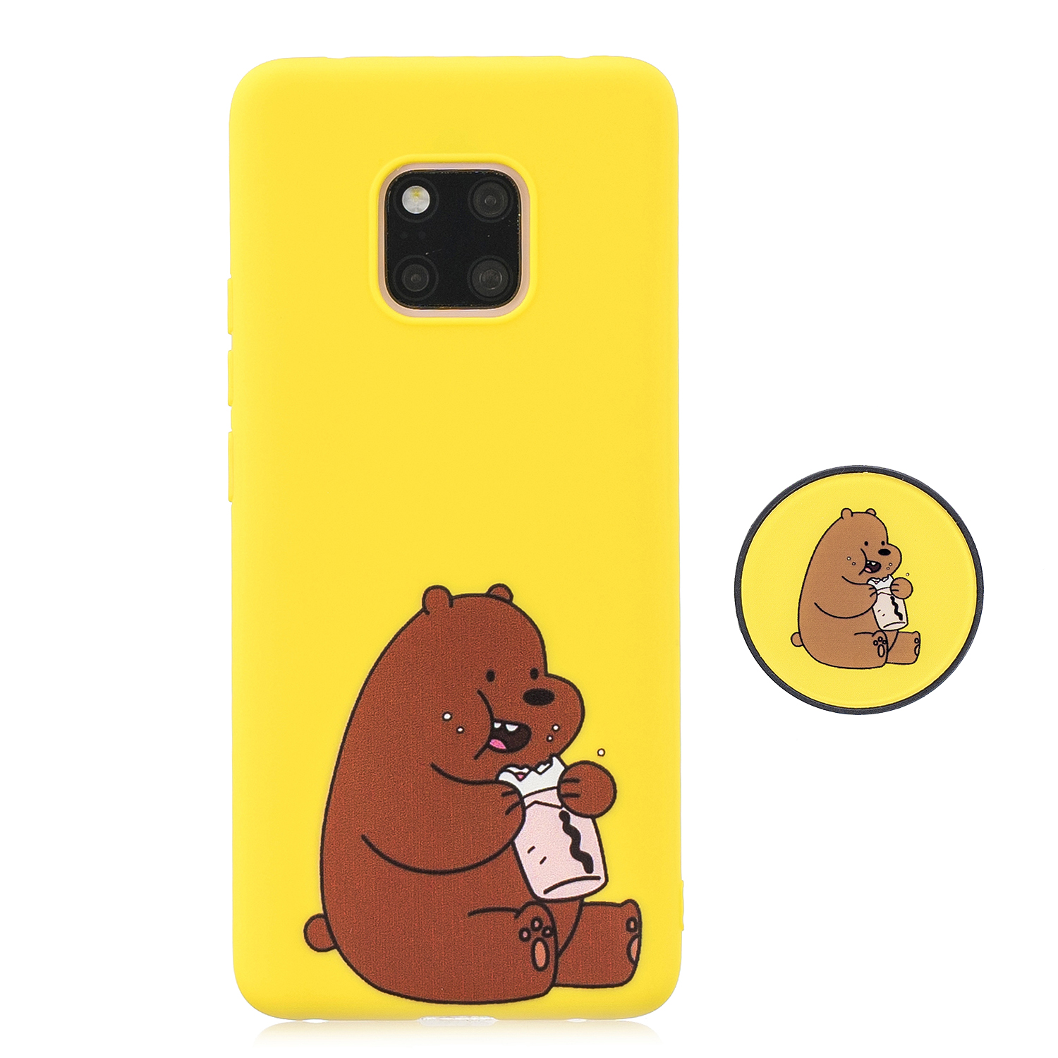 For HUAWEI MATE 20 pro Pure Color Phone Cover Cute Cartoon Phone Case Lightweight Soft TPU Phone Case with Matching Pattern Adjustable Bracket 8