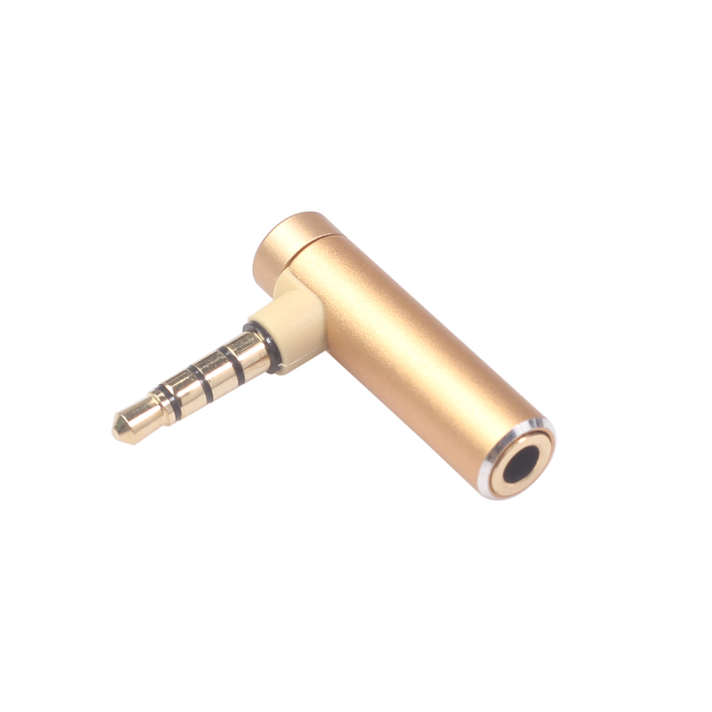 3.5mm Male To Female Audio Converter Adapter Connector L Type Stereo Earphone Microphone Jack Plug Gold