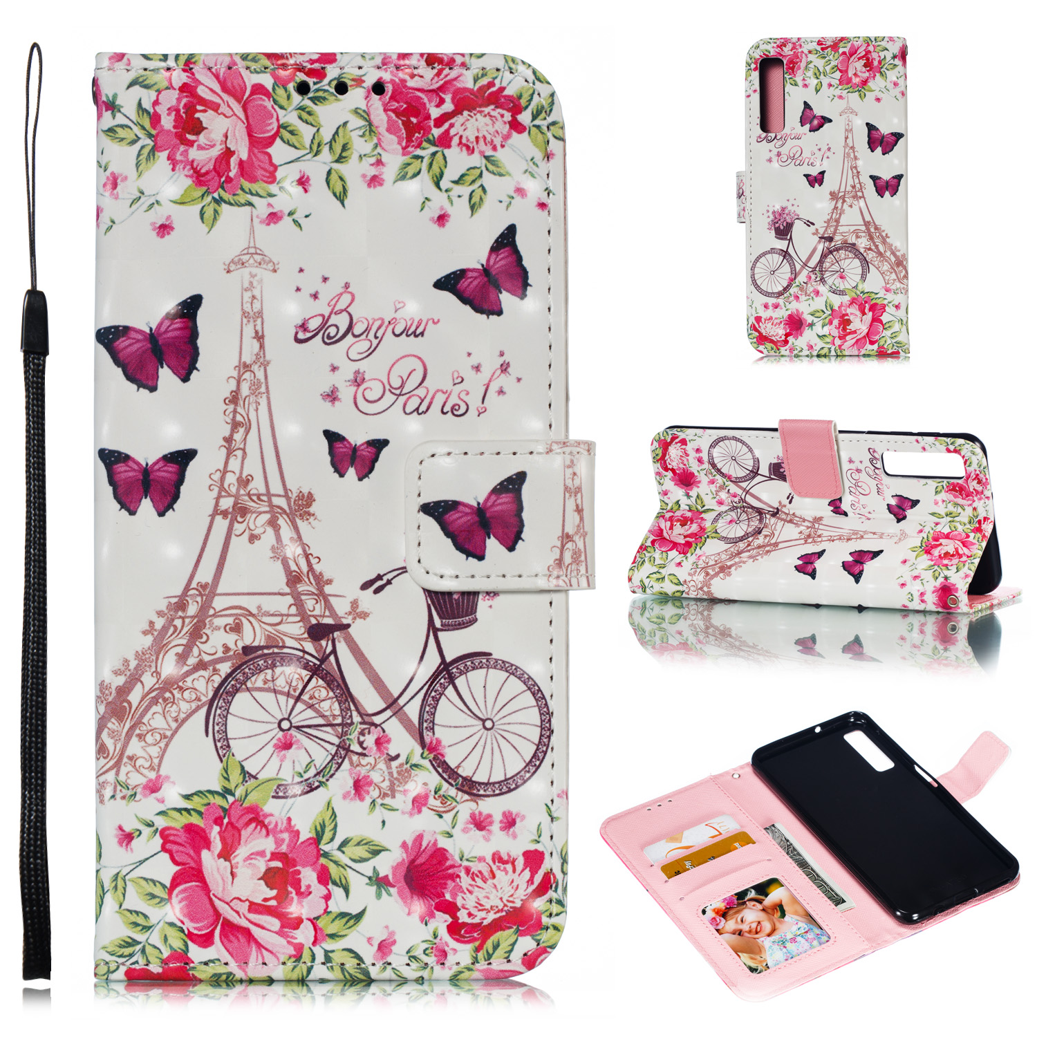 For Samsung A7 2018 3D Coloured Painted Leather Protective Phone Case with Button & Card Position & Lanyard Bicycle tower