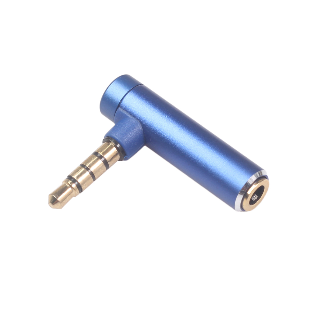 3.5mm Male To Female Audio Converter Adapter Connector L Type Stereo Earphone Microphone Jack Plug Blue