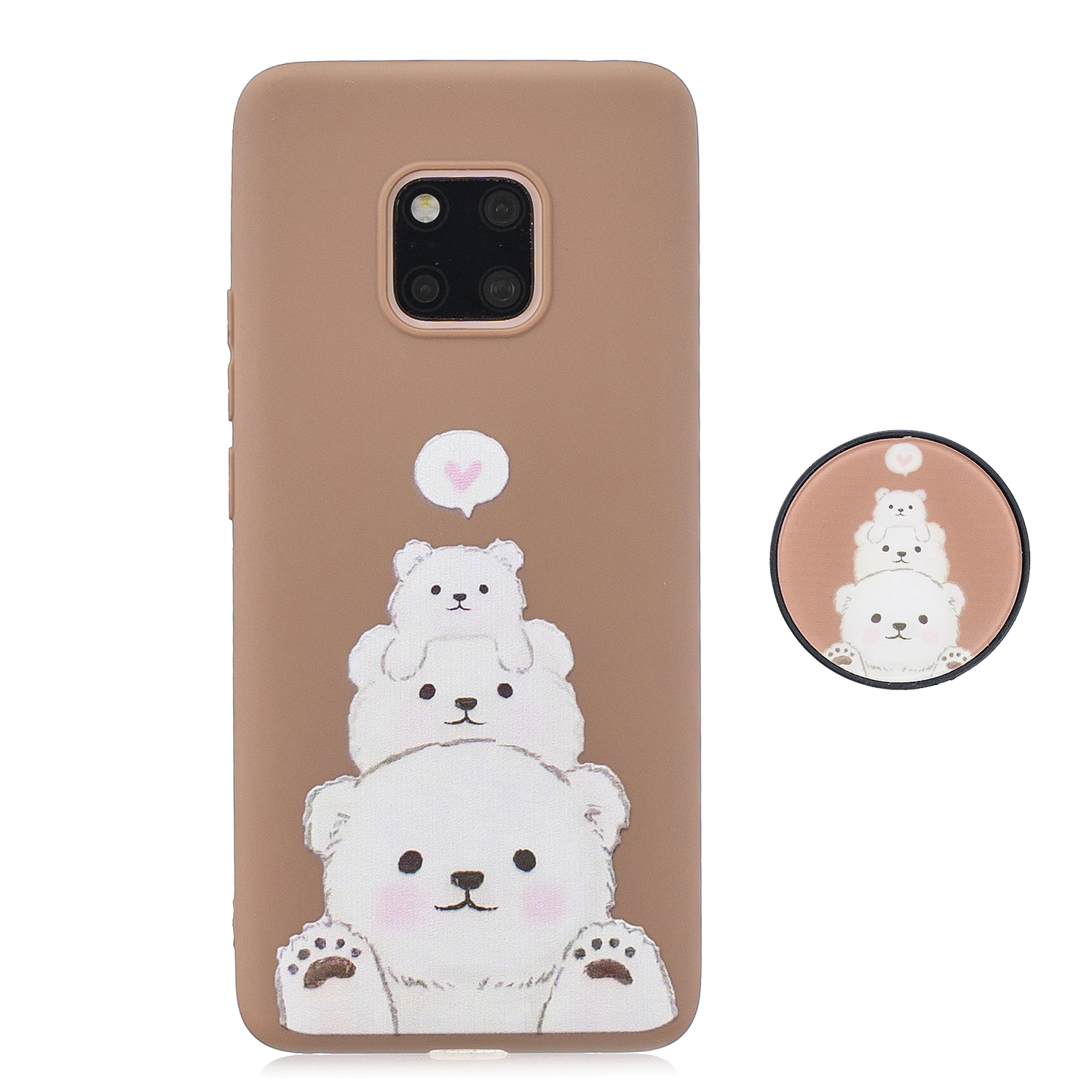 For HUAWEI MATE 20 pro Pure Color Phone Cover Cute Cartoon Phone Case Lightweight Soft TPU Phone Case with Matching Pattern Adjustable Bracket 3