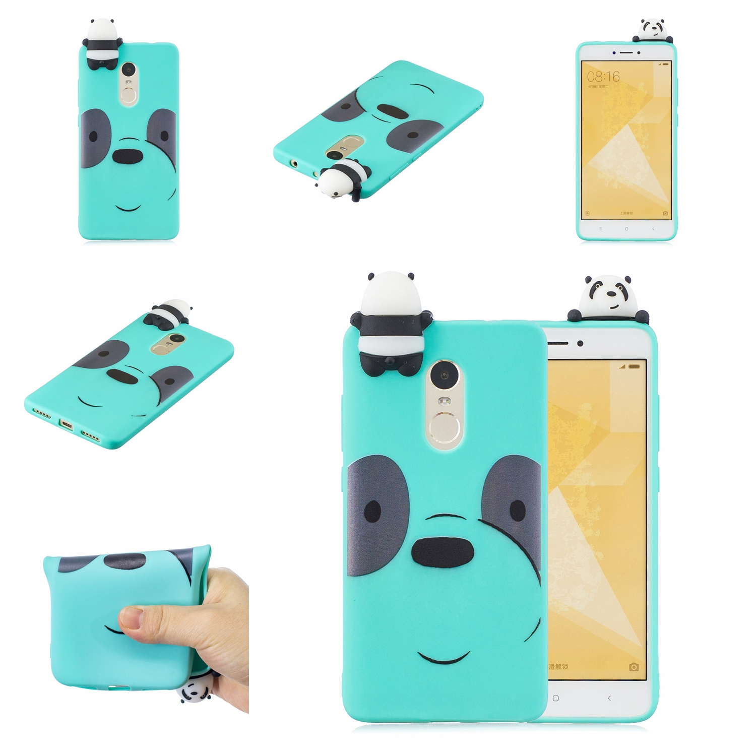 For XIAOMI Redmi NOTE 4X/NOTE 4 3D Cute Coloured Painted Animal TPU Anti-scratch Non-slip Protective Cover Back Case Light blue