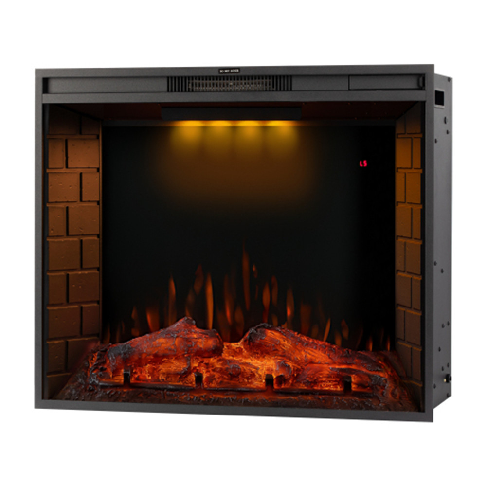 [US Direct] 33-inch  Led Embedded 1500w Electric  Fireplace With 3 Top Light Colors Remote Control black