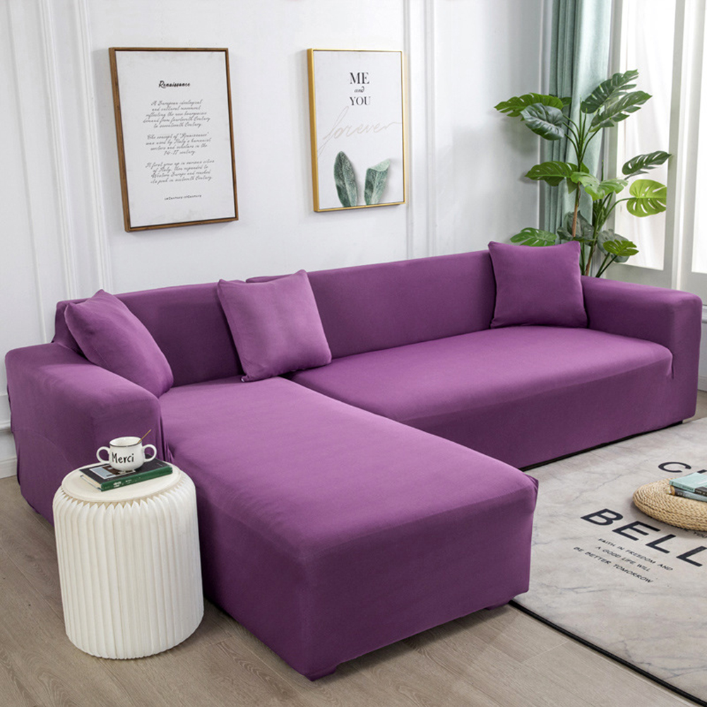 Universal Cloth Sofa Covers for Living Room Elastic Spandex Slipcovers purple_Four persons (applicable to 235-300cm)