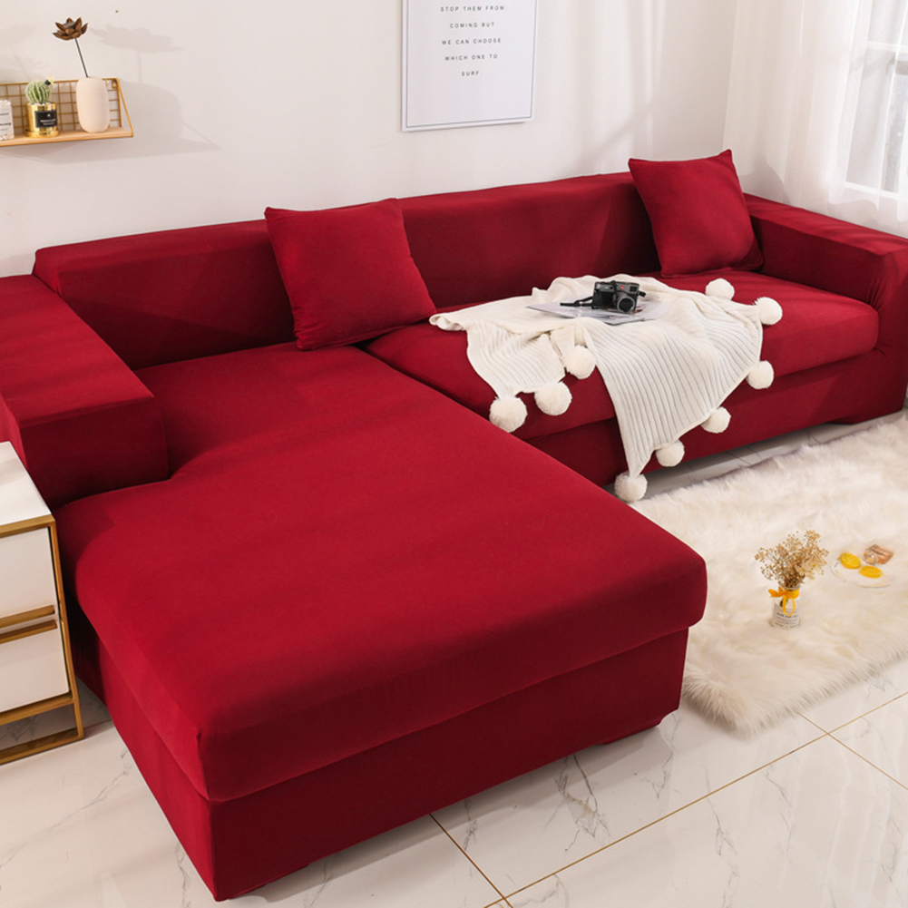 Universal Cloth Sofa Covers for Living Room Elastic Spandex Slipcovers wine red_Four persons (applicable to 235-300cm)