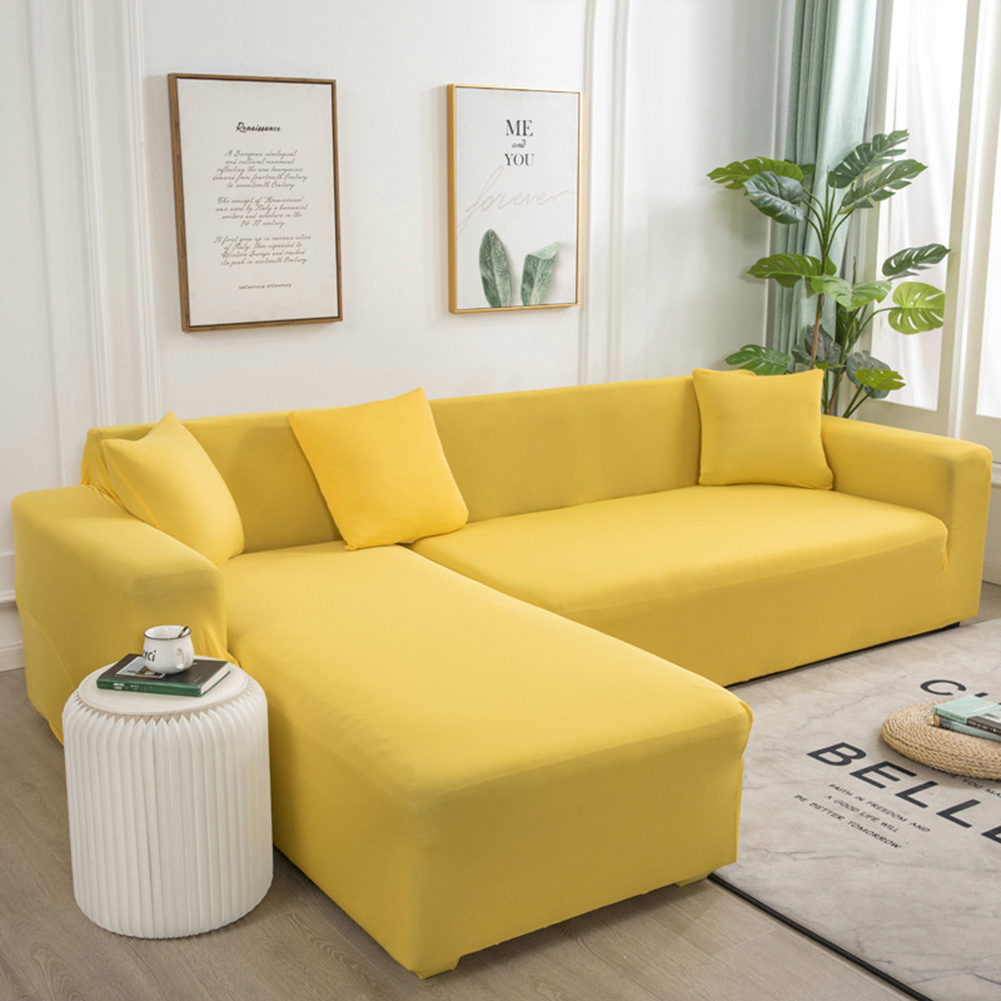 Universal Cloth Sofa Covers for Living Room Elastic Spandex Slipcovers yellow_Four persons (applicable to 235-300cm)