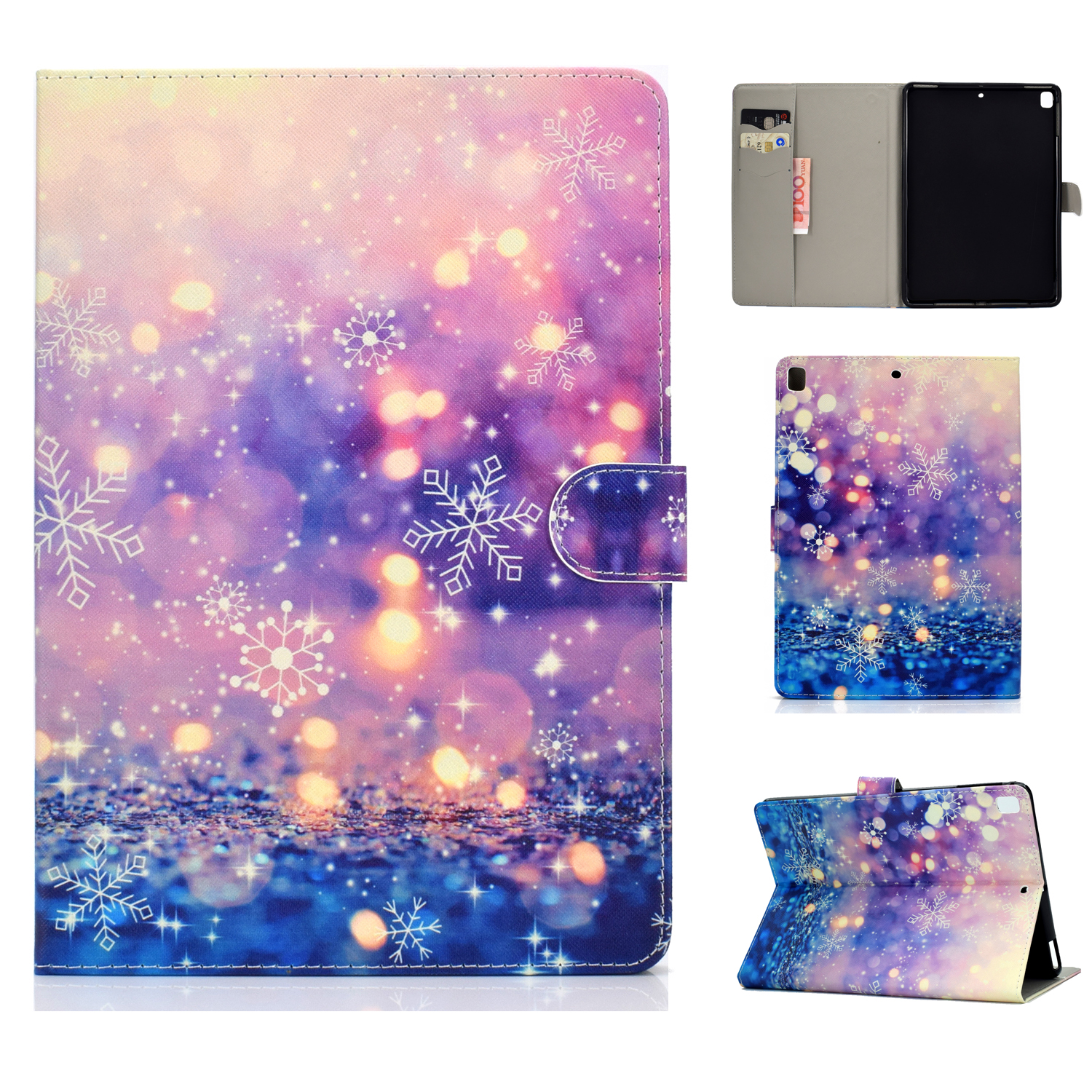 For iPad 5/6/7/8/9-iPad Pro9.7-iPad 9.7 Laptop Protective Case Color Painted Smart Stay PU Cover Purple quicksand