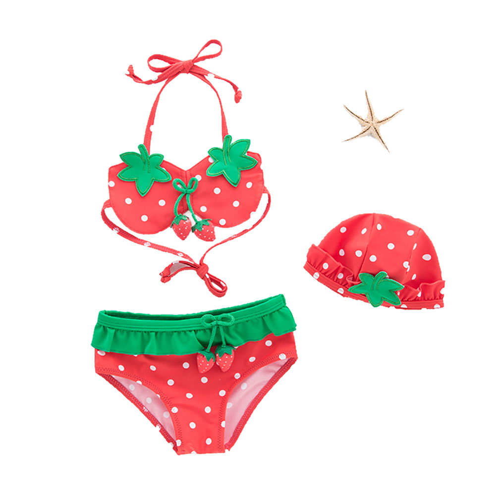 3Pcs/Set Children Girl Strawberry Design Split Swimsuit Suit Lovely Bikini Set with Hat As shown_2T (recommended age 18-24 months)