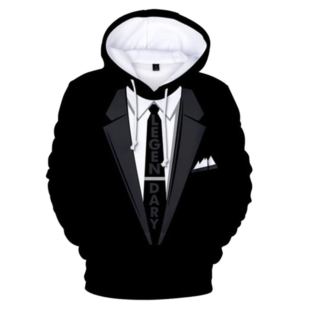Funny Men Women 3D Digital Printing Fake Tie Suit Loose Pullover Hoodie Sweatshirt 3D_XXL