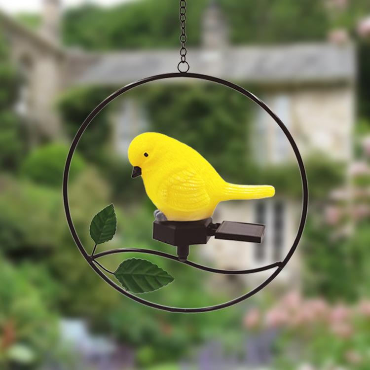 Solar Bird LED Hanging Light Outdoor Garden Lawn Patios Pendant Lamp Yard Decoration yellow_Little bird