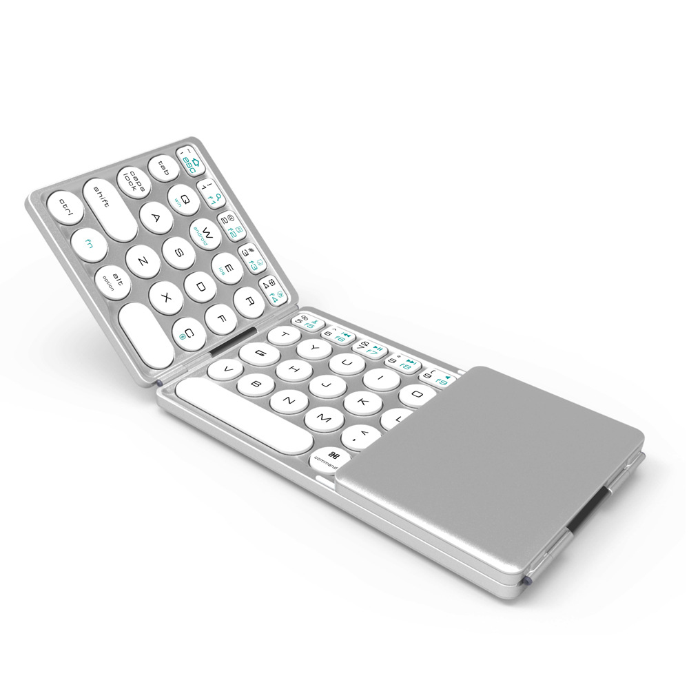 Universal Round Keycap with Touch Tablet Foldable Wireless Bluetooth Mini Keyboard for Computer Laptop Silver