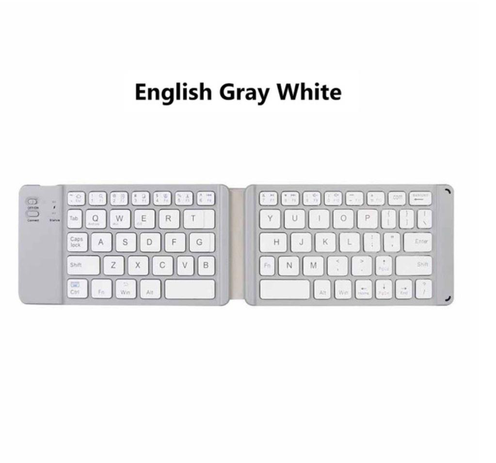 Light-Handy Russian/English Bluetooth Folding Keyboard Foldable Wireless Keypad for IOS/Android/Windows ipad Tablet Phone white