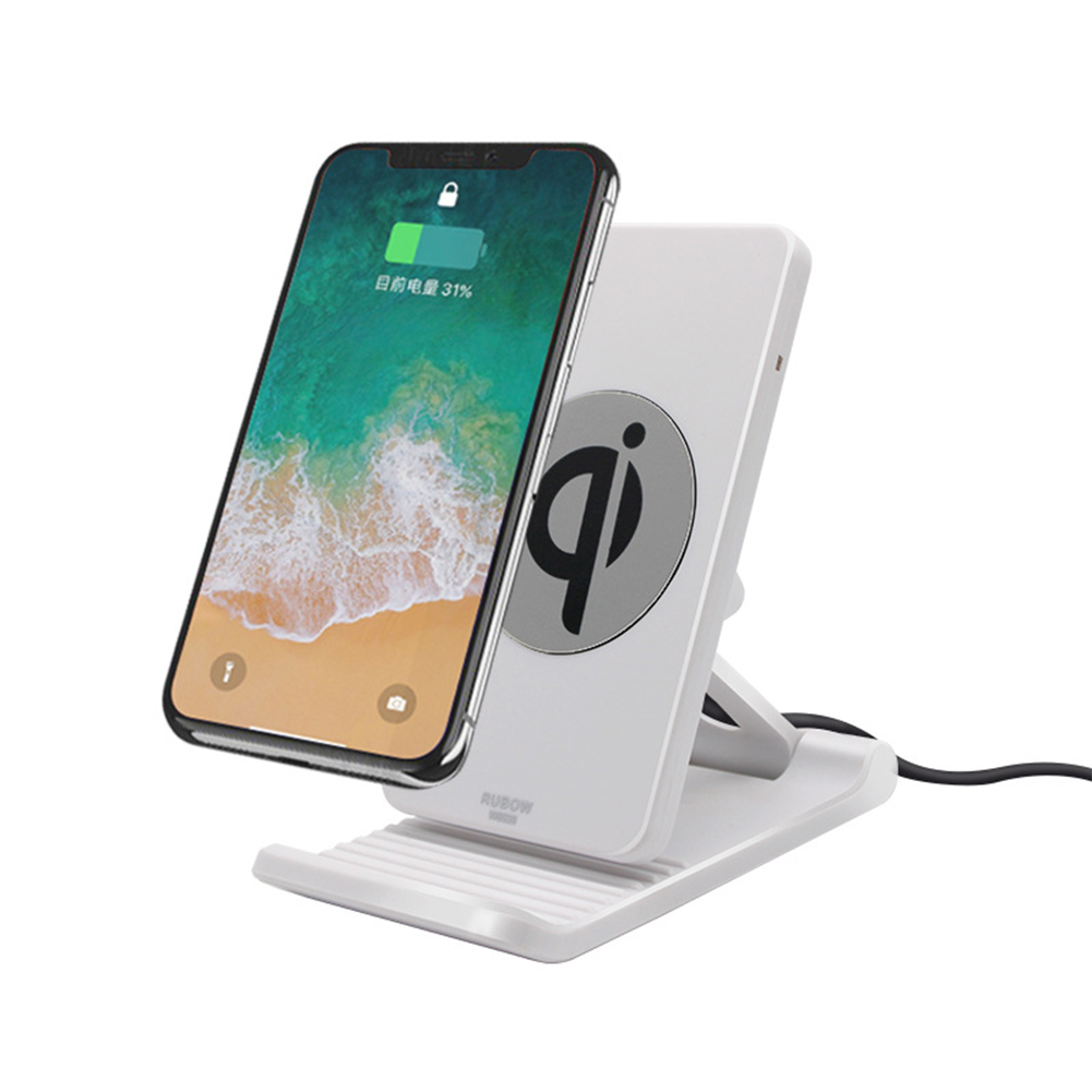 Mobile Phone Holder Wireless Charger Adjustable Mobile Phobe Bracket Vertical wireless charging Suitable for Apple Samsung White