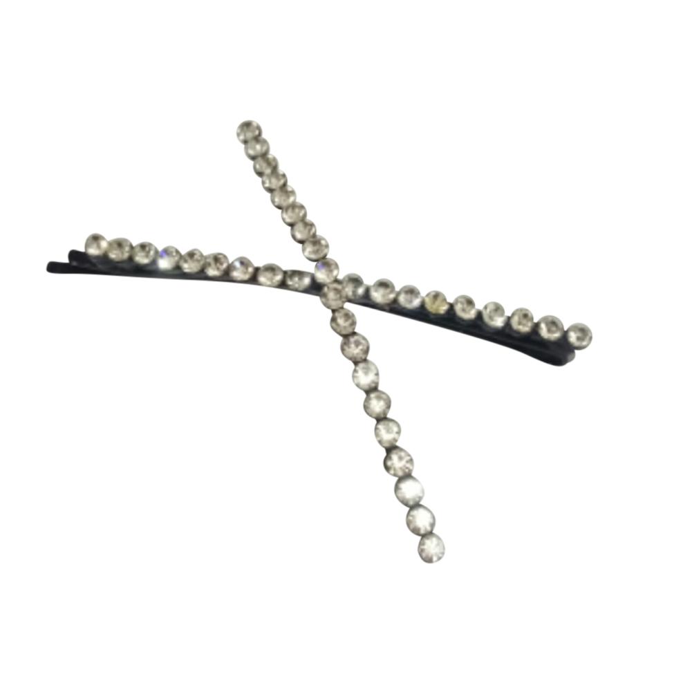 Women Girls Hair Clips Fashion Letter Crystal Hair Accessories Gun black cross clip