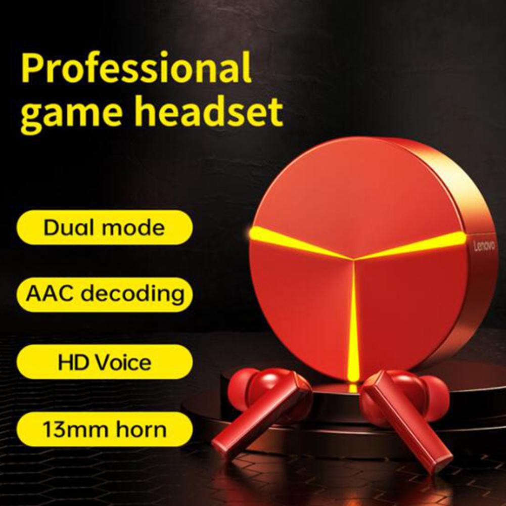 Original LENOVO GM1 Wireless Headset Bluetooth V5.0 Game True Extra Long Life Touch Control Earphones Red
