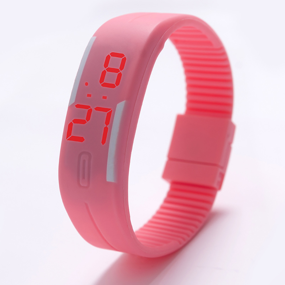 Fashion Top Brand Luxury Unisex Men's Watch Silicone Red LED Sport Watch Touch  Pink