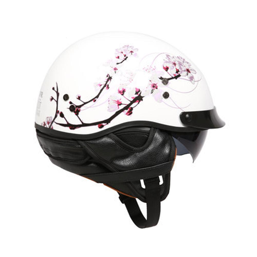 Retro Helemt Half Face Motorcylce Hat FRP Prince Helmet Bright white cherry blossom L