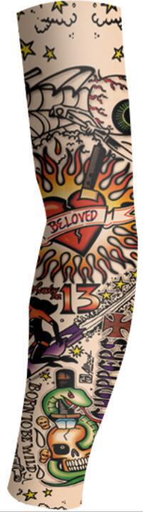 Halloween Props Sleeves Tattoo Sleeves Sunscreen UV Protection Cooling Outdoor Sports Riding Elastic Nylon Sleeves Single price (21)_One size