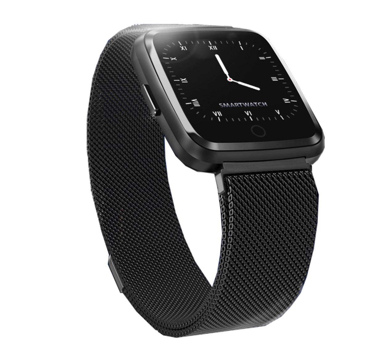 1.3 Inch Color Screen Exercise Heart Rate Blood Pressure Sleep Detection Call Alert Smart Bracelet Black steel strip