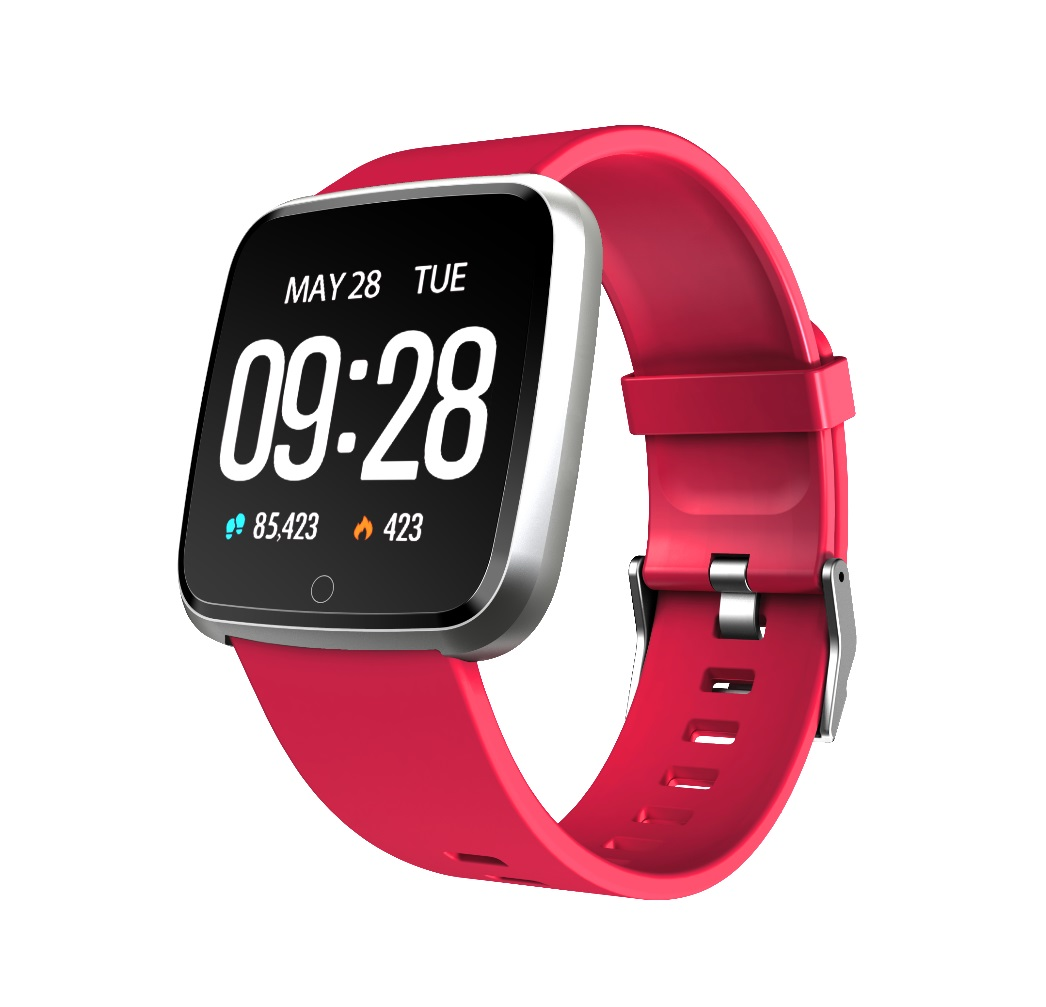 1.3 Inch Color Screen Exercise Heart Rate Blood Pressure Sleep Detection Call Alert Smart Bracelet Red silicone strap