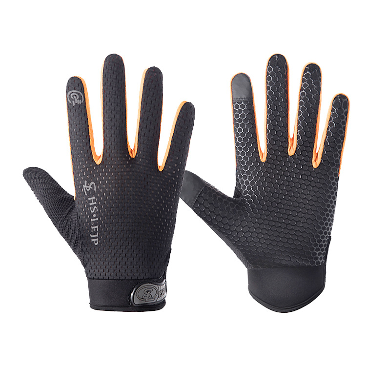Outdoor gloves Sports Anti Slip Breathable Road Gloves Outdoor Cycling Full Finger Gloves Bicycle Motorcycle Riding Black+orange_L