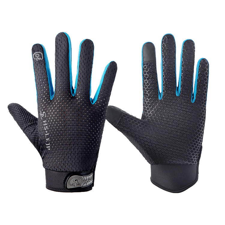 Outdoor gloves Sports Anti Slip Breathable Road Gloves Outdoor Cycling Full Finger Gloves Bicycle Motorcycle Riding Black+blue_L