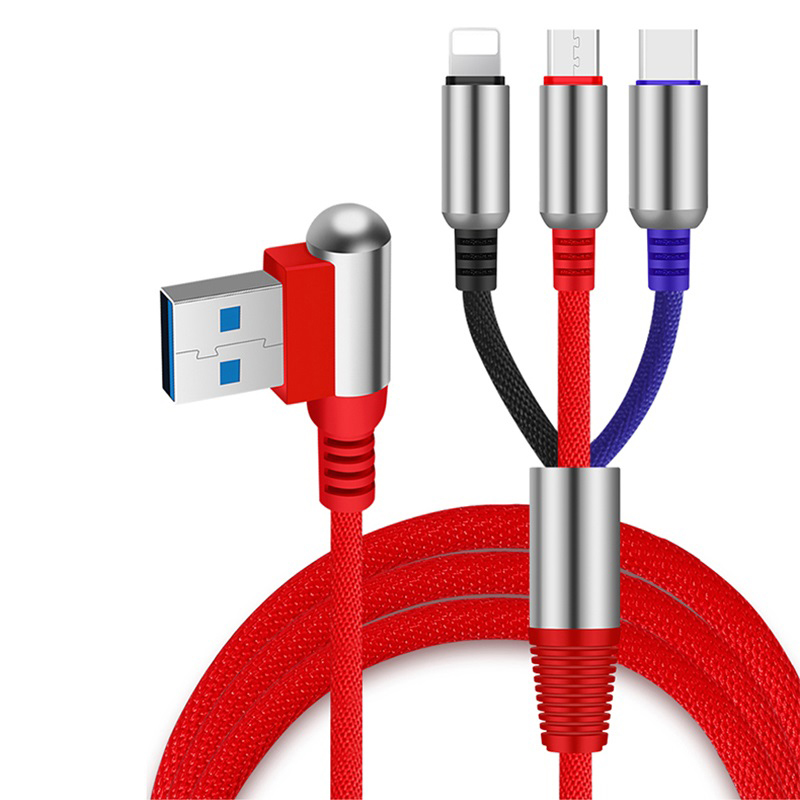 3 in 1 Angle Head 1.2M USB Cable Charging Type-C+Micro+8 Pin Data Cable for Smartphone red
