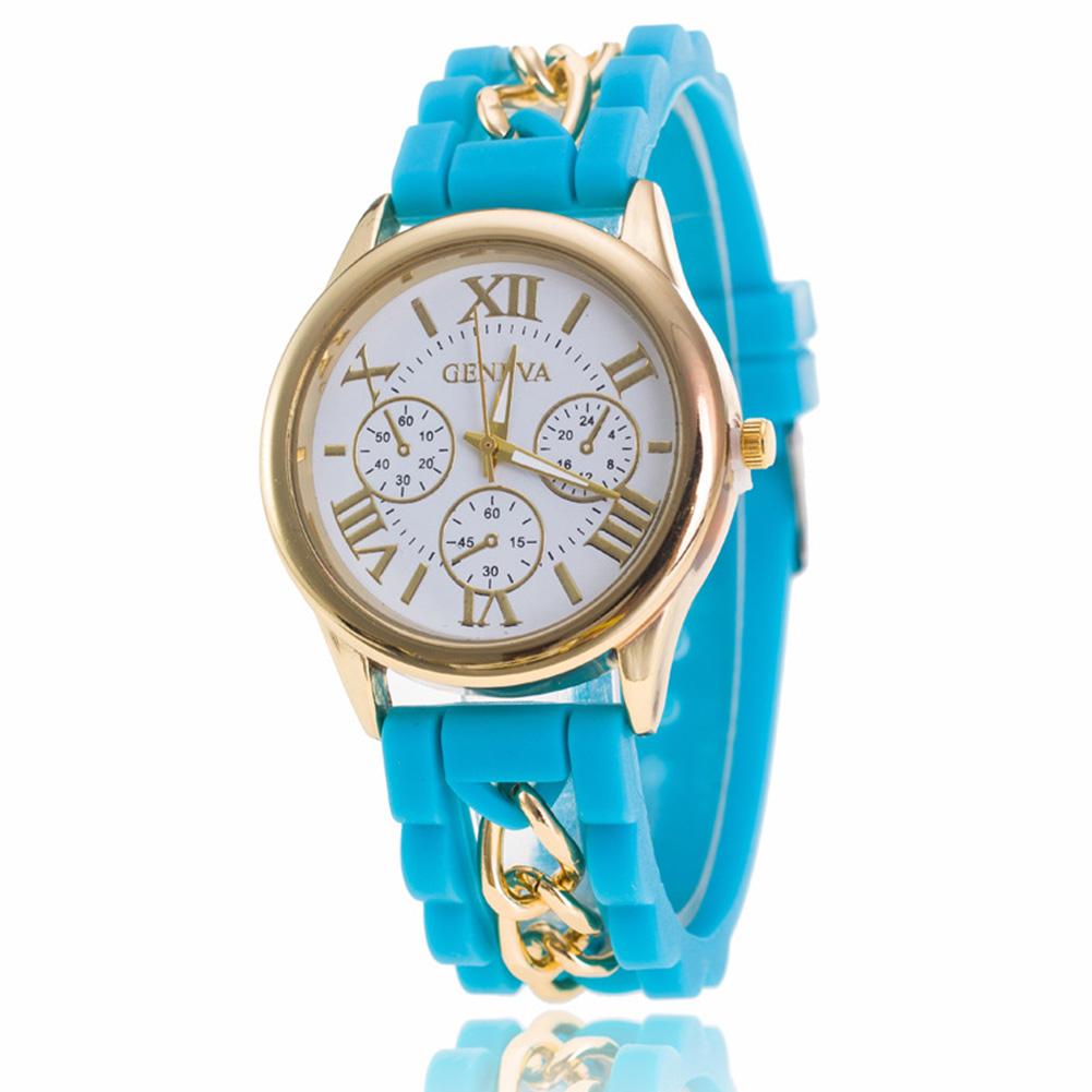Women Silicone Roman Literally Fake 3-eyed Lady Chain Watch Fashion Wristwatch
