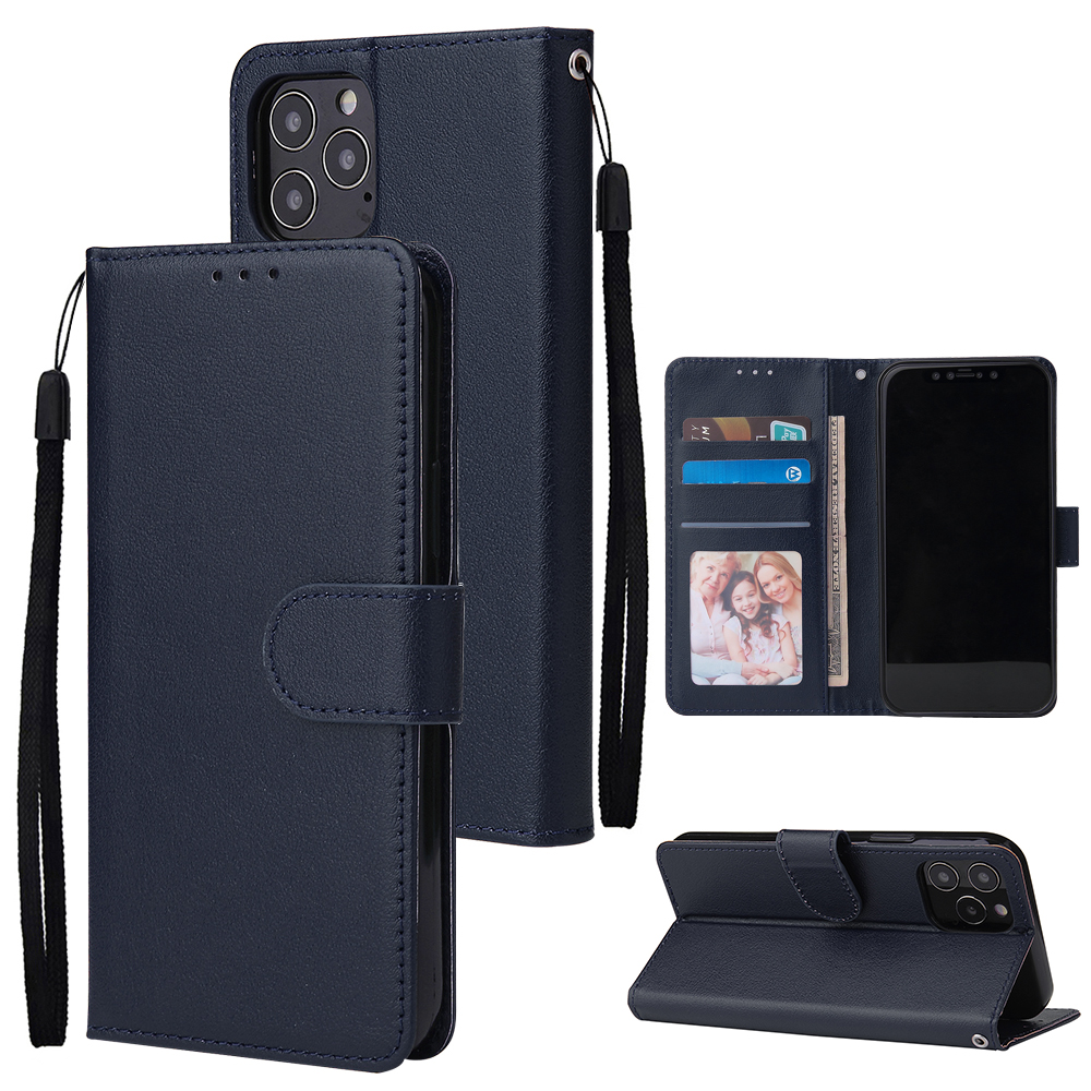 For Iphone 12 5.4 inch/6.1 inch/ 6.7 inch PU Leather Three-card Photo Frame Front Buckle Mobile Phone shell blue