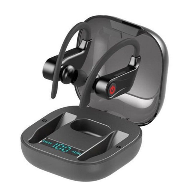 TWS HBQ PRO Wireless Bluebooth Earphone V5.0 Stereo Sport Ear Hook Headphones 950mah Waterproof Headsets HD MIC black