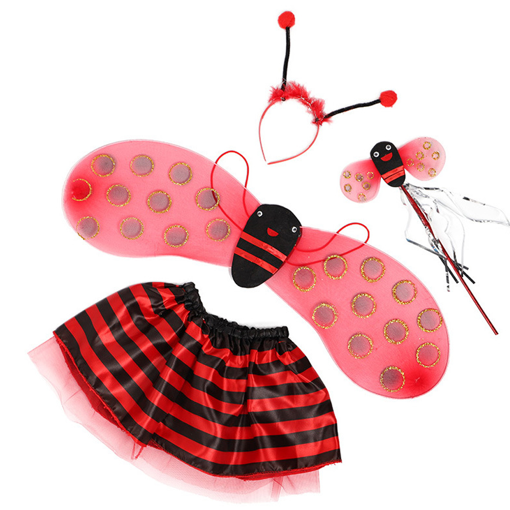 Little Bee Wings Props Costumes Princess Dance Skirts Halloween Decor 4pcs ladybug set