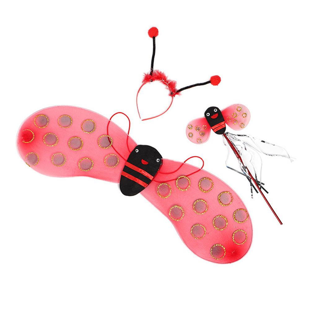 Little Bee Wings Props Costumes Princess Dance Skirts Halloween Decor 3pcs ladybug set