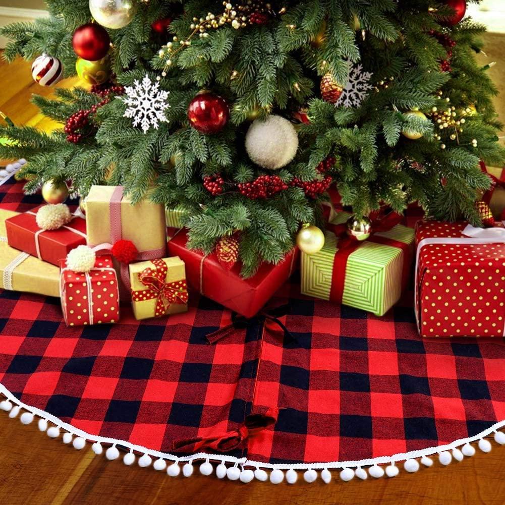 Red Black Lattice Christmas Tree  Skirt Xmas Home Decorative Ornaments As shown