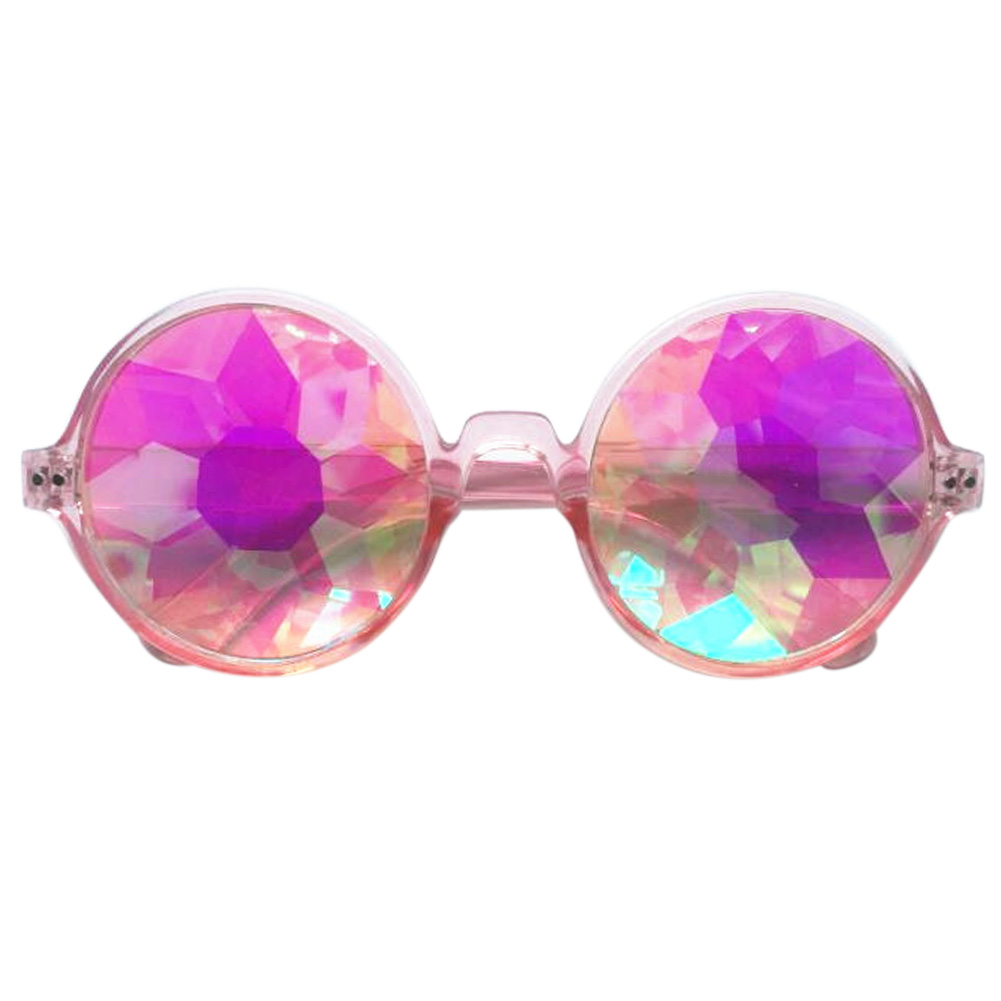 Retro Round Kaleidoscope Sunglasses Fashion Unique Cosplay Goggles Pink