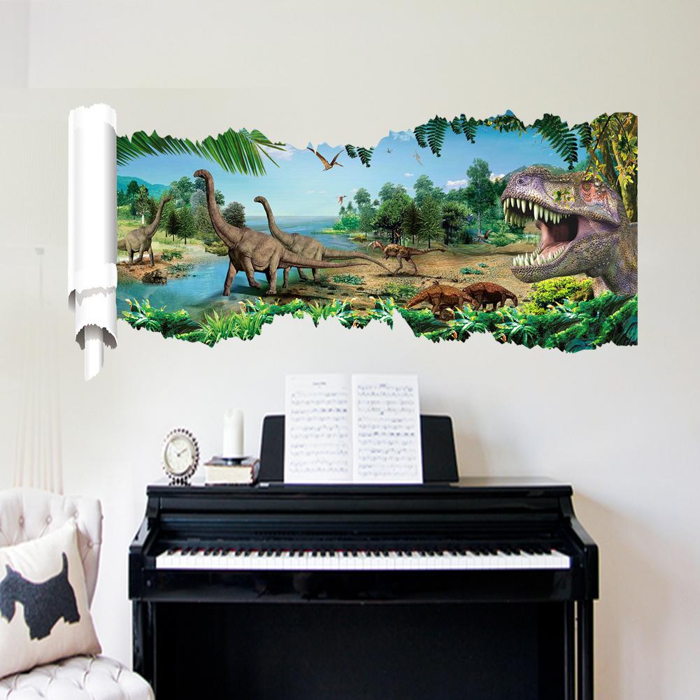 Removable Dinosaur Pattern Wall Sticker for Kids Room Bedroom Living Room Decor 50*90cm