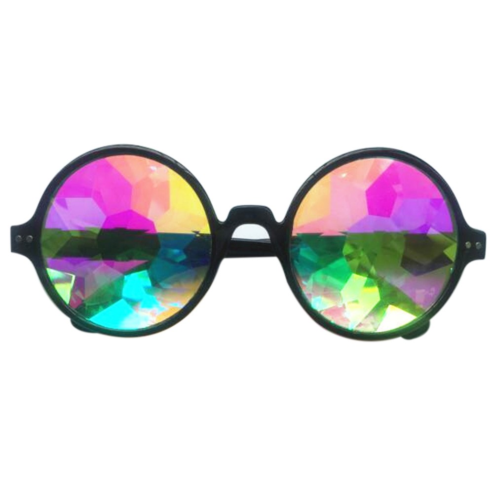 Retro Round Kaleidoscope Sunglasses Fashion Unique Cosplay Goggles black