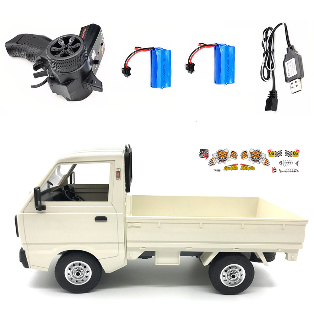 WPL D12 1/10 4WD RC Car Simulation Drift Truck Brushed 260 motor Climbing Car LED Light On-road RC Car Toys For Boys Kids Gifts White 2 batteries