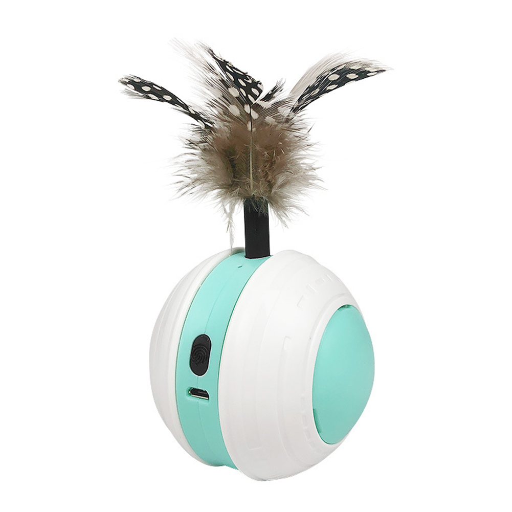 Pet Rolling  Ball Automatic Funny Cat Toy Led Infrared Electric Rotating Sports  Ball Usb Charging White green white_See details