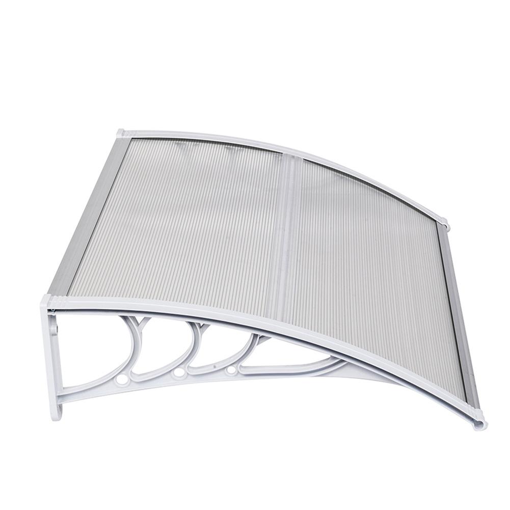 [US Direct] 100x80 Household Door Window Rain Cover Eaves  Canopy Mini Shelter Transparent plate White bracket