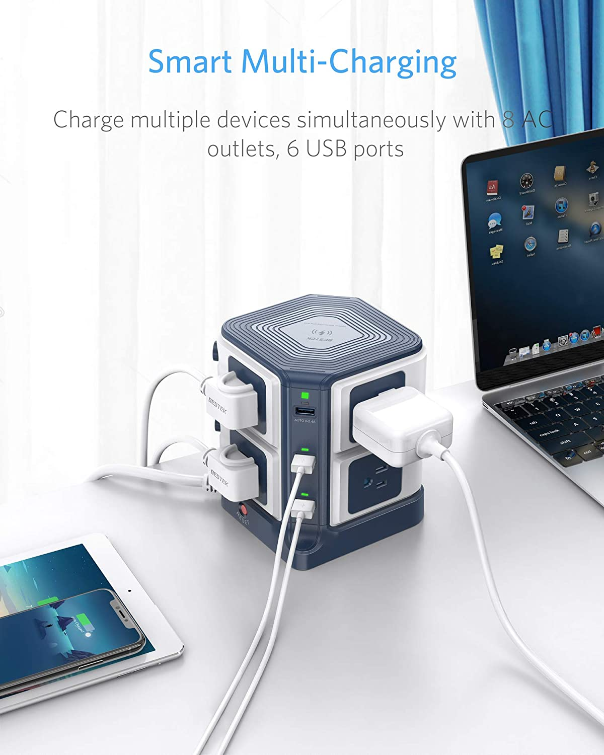 [US Direct] USB Power Strip with Wireless Charger BESTEK 8-Outlet Surge Protector and 40W 6-Port USB Charging Dock Station,1500 Joules,ETL Listed,Dorm Room Accessories 19*14*16
