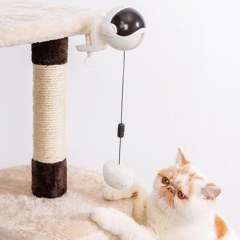 Electric Cat Teaser Ball Automatic Lifting Spring Rod Lifting Ball Interactive Puzzle Toy white