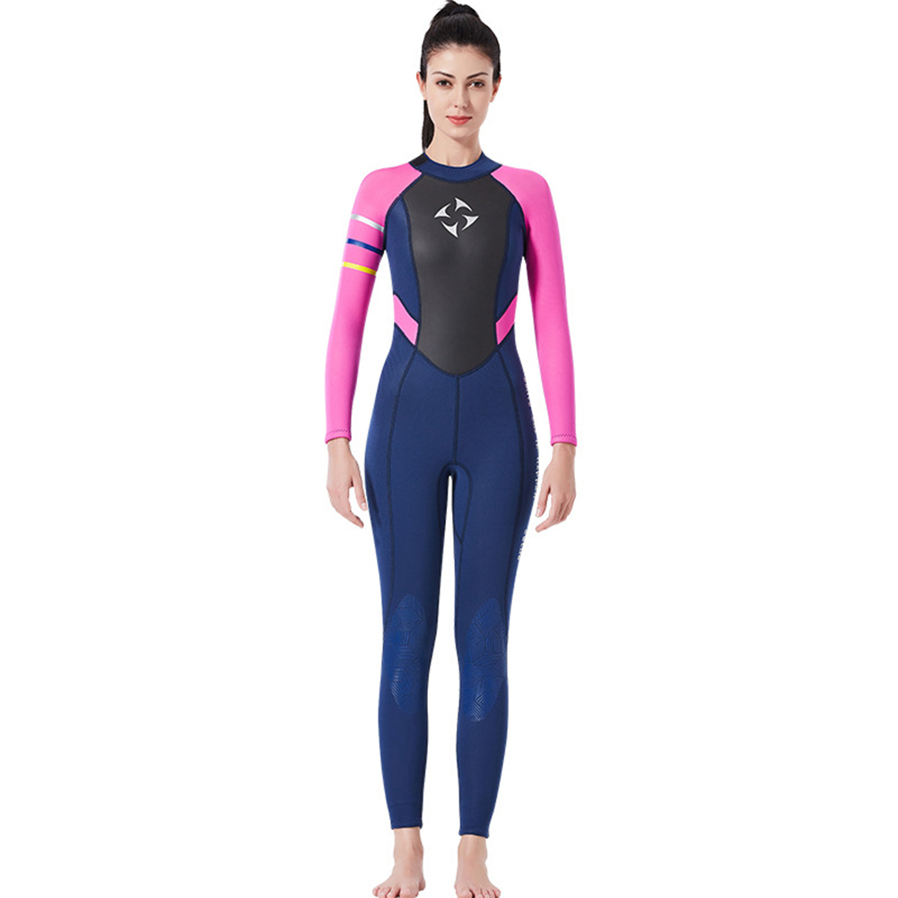 3MM Diving Suit Women Siamese Long Sleeve Warm Outdoor Coldproof Winter Diving Suit Blue red sleeve_S