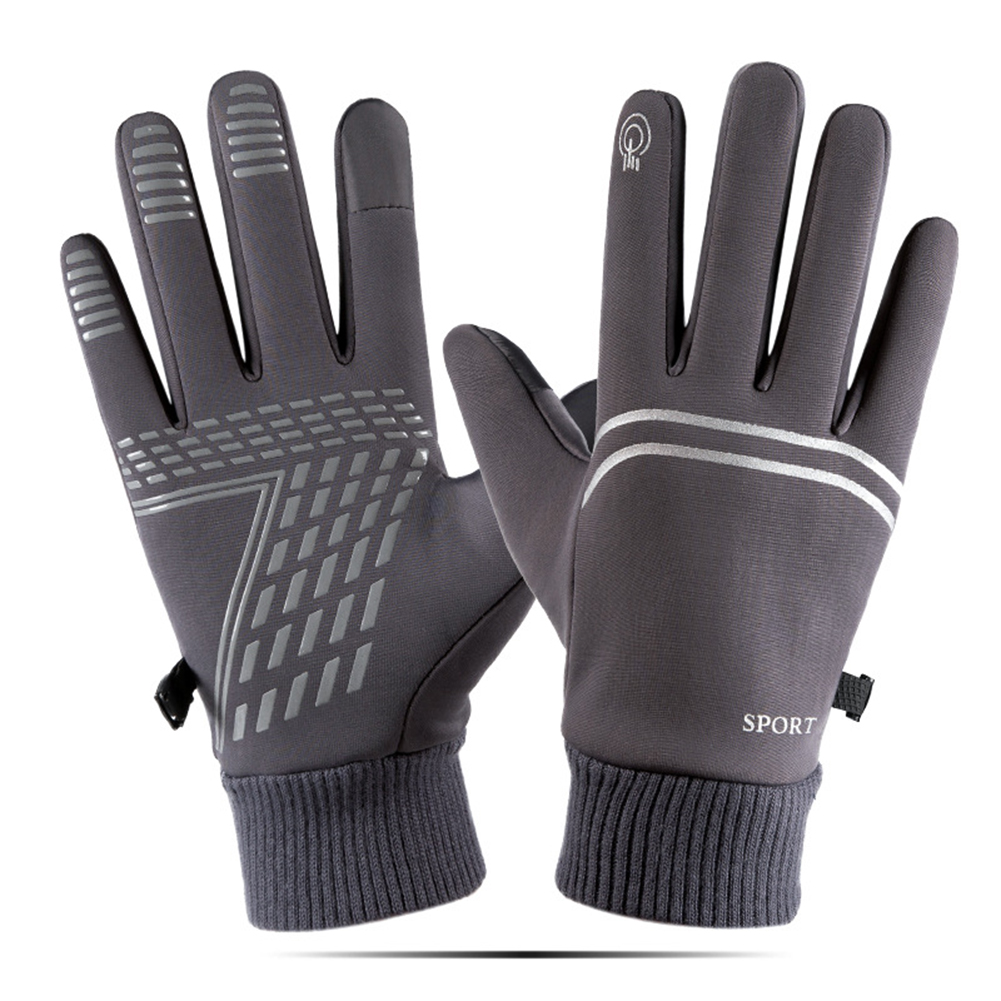 Winter Warm Gloves Waterproof windproof Outdoor Gloves Thicken Warm Mittens  touch screen Gloves Unisex Men Sports Cycling Glove gray_One size