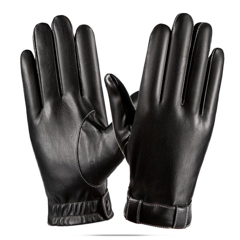 Men PU Leather Winter Driving Warm Gloves brushed warm gloves Leather gloves_One size