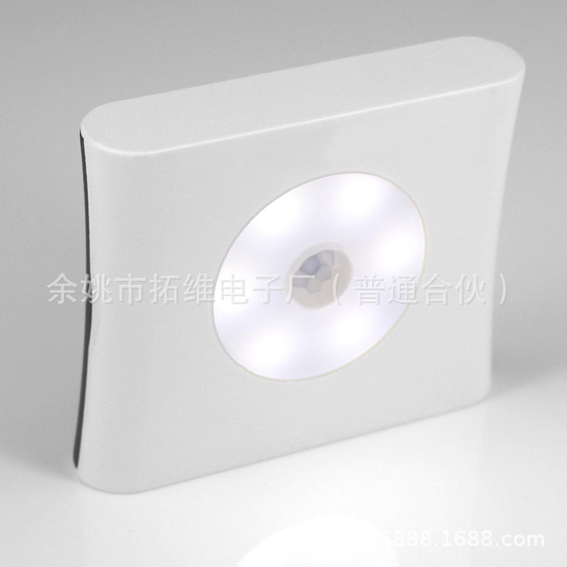 6LEDs Wireless Motion Sensor Induction Lamp for Stairs Closet Cabinet Square Night Light 6000K positive white light