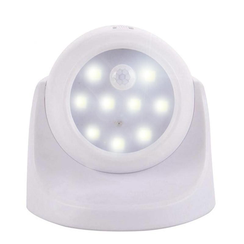 360 Rotation LED Light Control Motion Sensor Night Light for Stairs Outside Home White white light