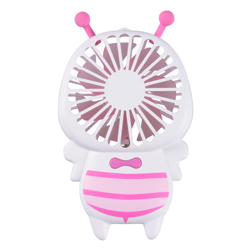 Portable USB Charging Cartoon Bee Shape Fan with LED 7Colors Change Light Pink